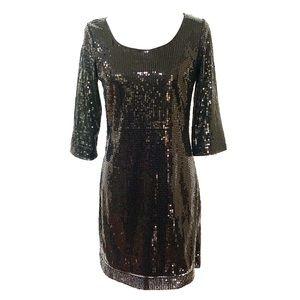 WHBM Black Sequined Scoop Neck Shift Dress